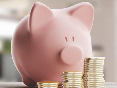 cochon rose, tirelire, pièces de monnaie