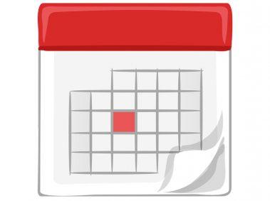 calendrier rouge et blanc