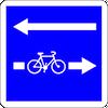 panneau de signalisation bleu, sens pour les cyclistes et pour les voitures