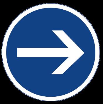 panneau de signalisation rond bleu avec une flèche