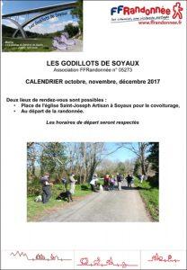 Godillots de Soyaux - programme octobre, novembre et décembre 2017