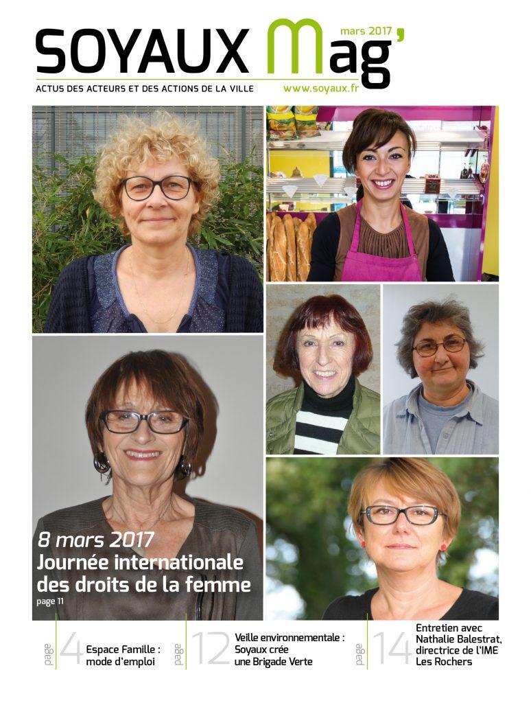 couverture du magazine municipal de mars 2017 avec six portraits de femmes dans le cadre de la journée internationale des droits de la femme