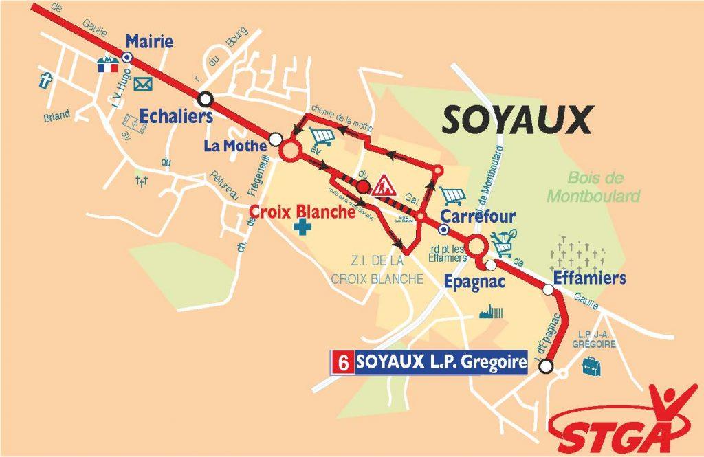 carte de la ligne 6 de bus STGA