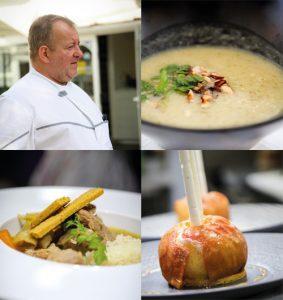 Le chef Erick Boux, restaurant La Cigogne et ses plats
