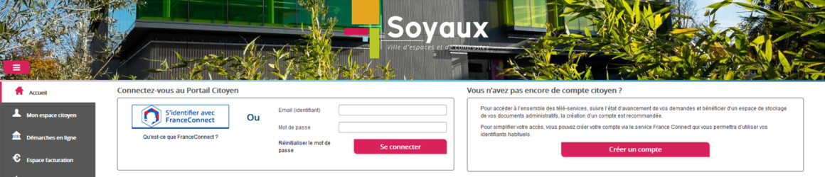 Le Portail Citoyen de la Ville de Soyaux et FranceConnect