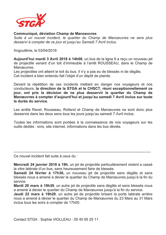 Communiqué Soyaux Ch Manoeuvre 030418