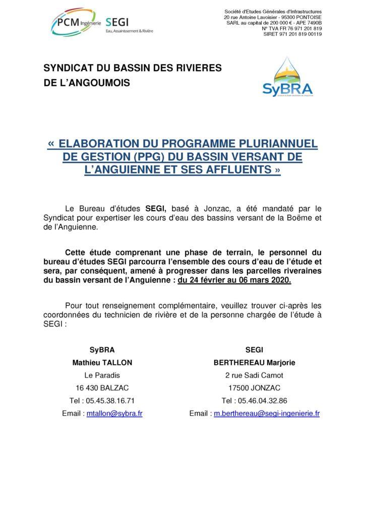 Etude Programme Pluriannuel de Gestion sur le bassin versant de l'Anguienne