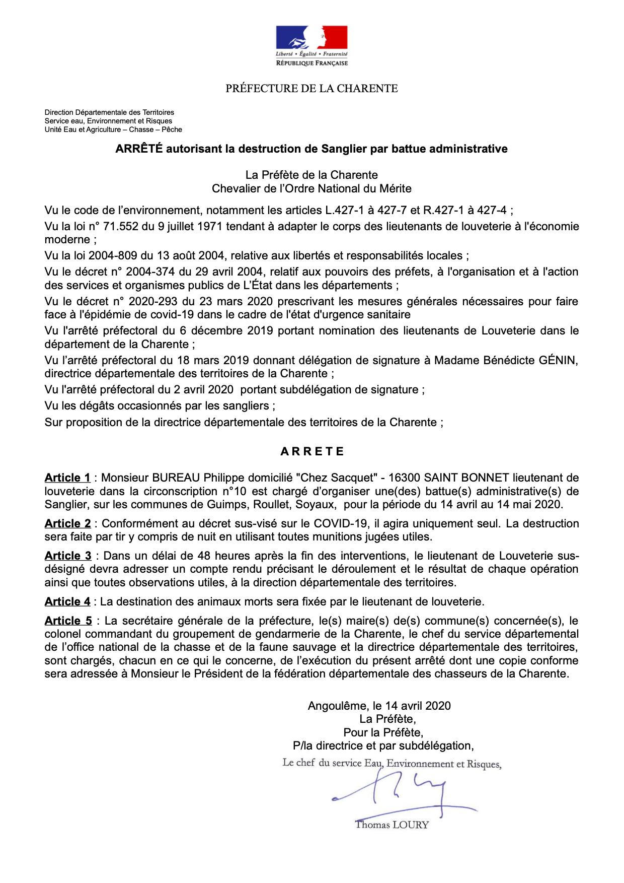 Arrêté préfectoral autorisant la destruction de sangliers par battue administrative