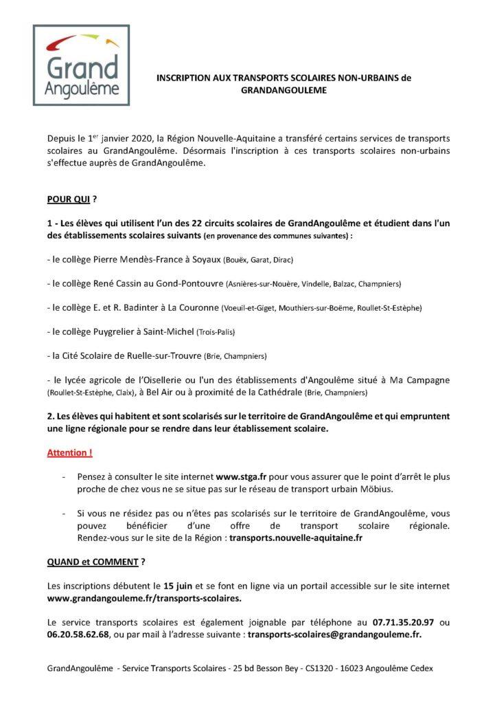 INSCRIPTION aux TRANSPORTS SCOLAIRES de GRANDANGOULEME