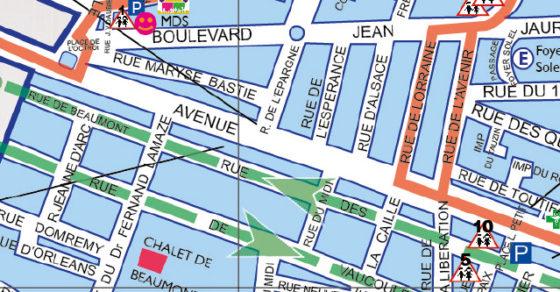 Plan de la ville - travaux août -destruction chateau d'eau