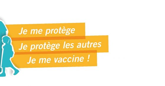 Slogan je me protège, je protège les autres, je me vaccine