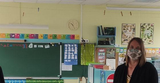 déconfinement écoles - François NEBOUT, Robert JABOUILLE et une enseignante